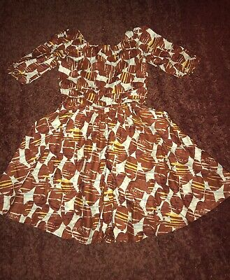 African Brown Fabric Dress • 3£
