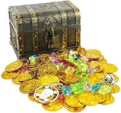 AU13.99 • Buy Kids Pirate Treasure Chest Toy Box Pirate Gold Coins Gems Party Supplies