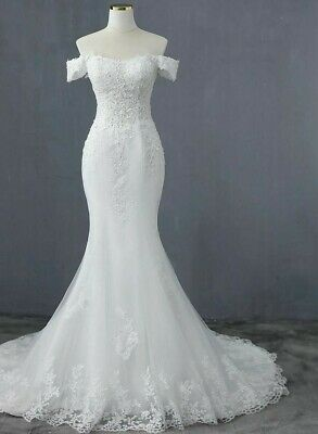 $ CDN282.62 • Buy Sexy Mermaid Wedding Dresses Boat Neck Court Train Appliques Flowers Tulle Laces