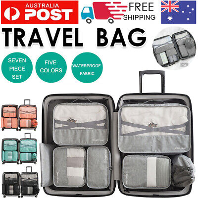 AU16.89 • Buy 1-7pc Packing Cubes Pouch Suitcase Clothes Storage Bags Travel Luggage Organizer