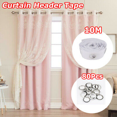10M Curtain Header Tape 80 Rings Liner Accessories Sewing Eyelet Curtains Blinds • 6£