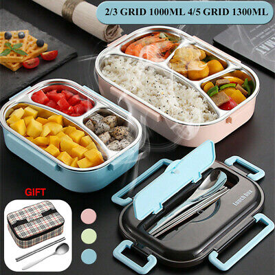 AU16.99 • Buy 2-5 Grid Stainless Thermal Insulated Lunch Box Bento Food Container Wom