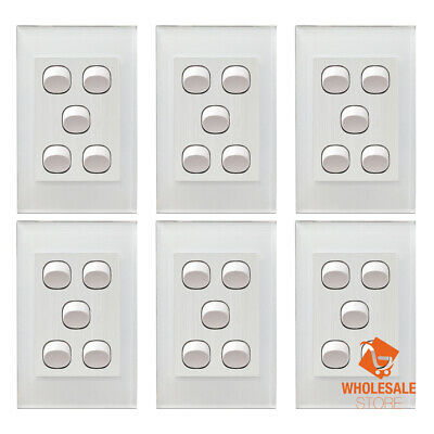 AU76.90 • Buy 6PC Wall Light Switch 5 Gang Power Point Glass GPO Clipsal Compatible Wholesale