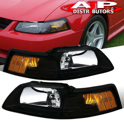 $65.99 • Buy Black Amber Replacement Head Lights Lamps LH RH Set For 1999-2004 Ford Mustang
