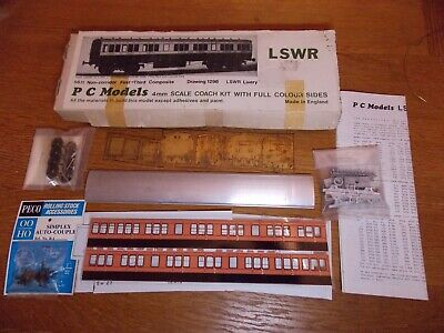 PC MODELS KIT For LSWR 56' NON CORRIDOR COMPOSITE COACH Drg 1298 LSWR Livery 00 • 35£