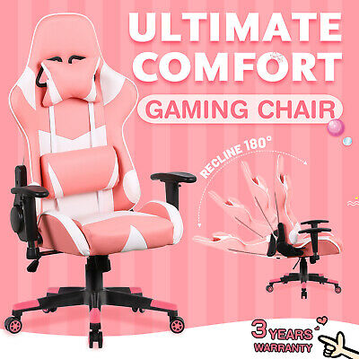 AU139.90 • Buy Computer Gaming Chair Executive Office Racer Recliner Chairs PU Leather Pink