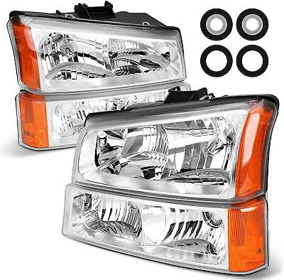 $61.31 • Buy Headlight For 03-06 Chevy Silverado Avalanche Chrome Housing Clear  Bumper Lamps
