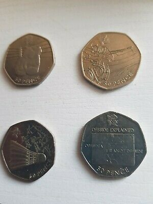 4x Olympic 50p OFFSIDE RULE, Boxing, Badminton, Cycling! • 7.50£