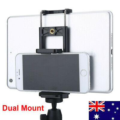 AU9.69 • Buy PRO Universal Dual Mount Tripod Adapter Clip Phone Stand Holder Bracket For IPad