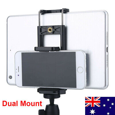 AU9.69 • Buy Universal Dual Mount Tripod Adapter Phone Stand Holder Bracket For IPhone IPad