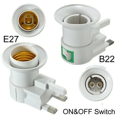 E27 Plug In Screw Bulb Holder Lamp Socket With Switch UK Plug Adapter Converter • 7.99£