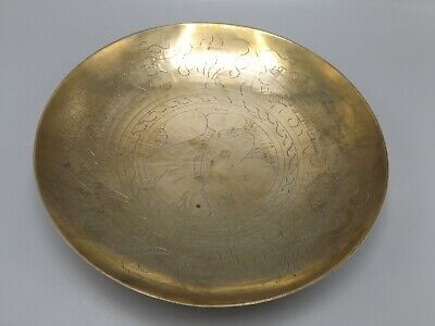 9  Vintage Brass Bowl With Embossed Dragon Design Signed Chinese Dish Polished • 1.99£