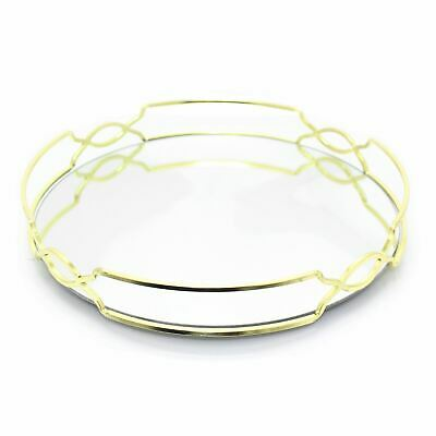 £19.98 • Buy Gold Mirror Glass Metal Candle Plate Holder - Vanity Tray Perfume Display
