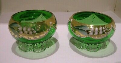 Victorian Pair Green Glass Hand Painted Salts • 10£