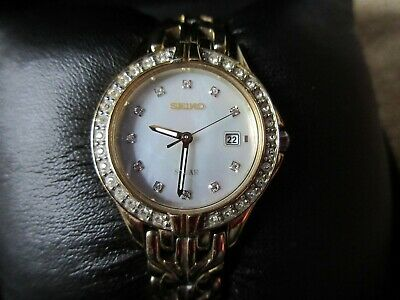 Seiko Ladies Gold Band Diamond Watch, Mother Pearl Face, Boxed, SUT086 • 24.99£