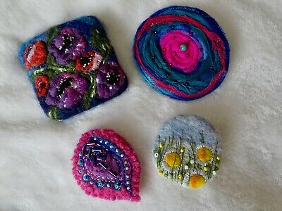 4 X Hand Made Felt And Needle Felted Brooches~all Unworn~flowers~beads • 14.99£