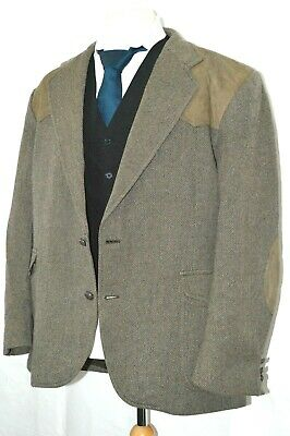 Mens Tweed Jacket Blazer Pendleton Brown Elbow Padded Country Style Tailored 48 • 15.99£