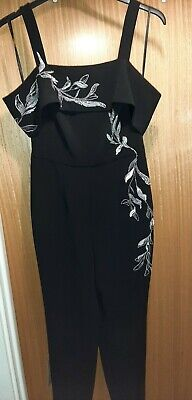 Bnwt Coast Size 8 Black Cold Shoulder Jumpsuit With Silver Embroidered Detail • 5.59£