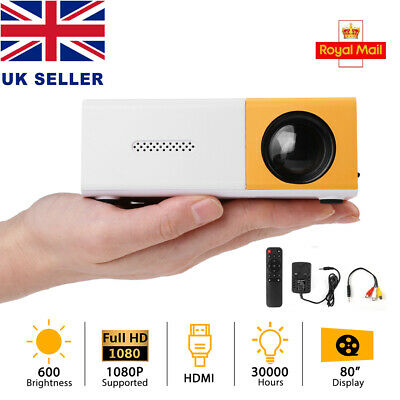 YG300 1080P Home Theater Cinema USB HDMI AV SD Mini Portable HD LED Projector UK • 16.99£
