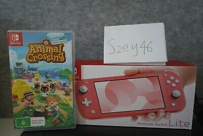 AU369 • Buy Nintendo Switch Lite Coral Console With Animal Crossing Game! Rare! Fast Ship!