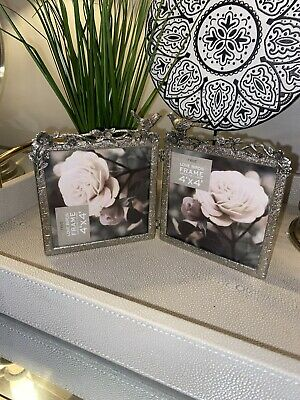 Next Silver Hinged 4x4 Photo Frame With Bird Detail  • 3£
