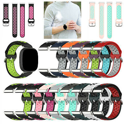 $ CDN5.11 • Buy For Fitbit Versa 3/ Sense Double Color Strap Sport Replacement Watch Band UK