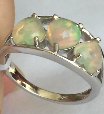 Heart Ethiopian Fiery Opal Platinum On Silver Trilogy Ring Size Size N 1.250ct • 26.99£