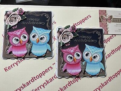 £1.20 • Buy 2 X Decoupage Pictures Of Engagement Owls Theme Toppers