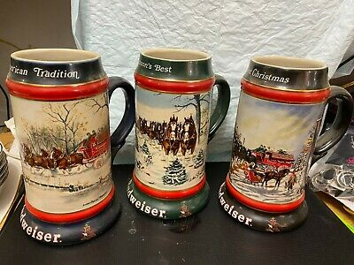 $ CDN44.51 • Buy Lot Of 3 Budweiser Steins-1990, 1991, 1992.....great Collector's Find!.....brab