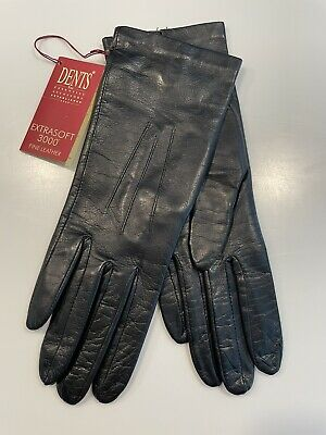 Dents Ladies Classic Unlined Black Leather Gloves Size 6.5 Small  • 25£