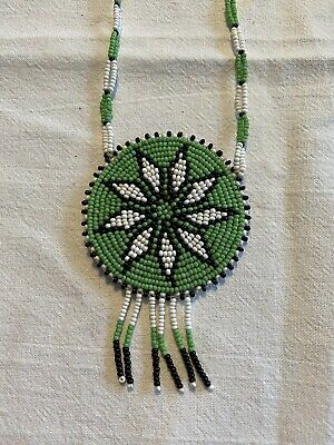 Vintage 1970's Native American Seed Beaded Medallion Necklace With Leather Back • 10£
