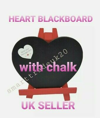 £4.39 • Buy VALENTINES DAY Heart Shaped Black Board On Wooden Easel With Chalk Tableware Uk