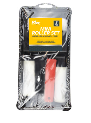 £4.85 • Buy PAINT ROLLER SET 5 PIECE Touch Up Kit Mini Sleeve Handle Tray Rollers UK SMALL