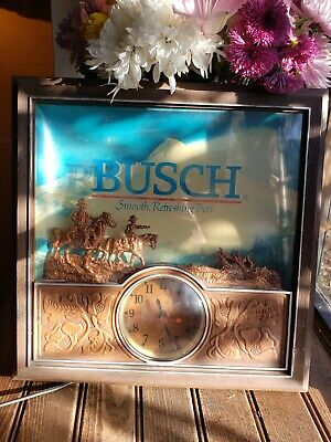 $ CDN221.28 • Buy (VTG) Busch Beer Western Cowboy On Horseback Light Up Back Bar 3D Clock Sign!!!