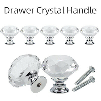 Clear Crystal Diamond Glass Door Knobs Cupboard Drawer Furniture Handle Cabinet • 5.49£