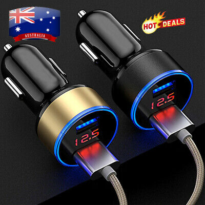 AU10.99 • Buy Fast Car Charger 2 USB Ports Cigarette Socket Lighter For IPhone 12 11 X Samsung