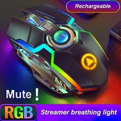 AU20.98 • Buy Wireless Gaming Mouse Rechargeable Optical Ergonomic LED Light For PC MAC Random