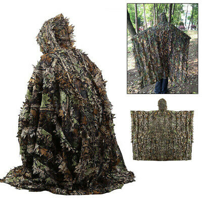 3D Camouflage Ghillie Suit Leaf Poncho Stealth Cloak Jungle Hunting Camo Clothe • 19.66£
