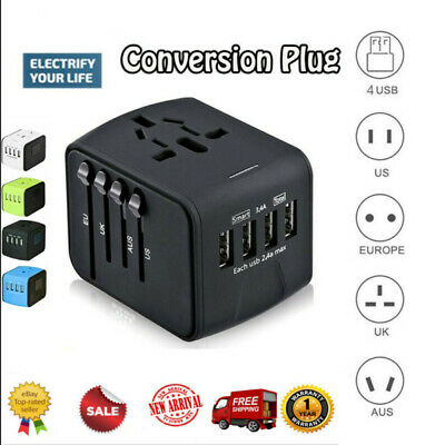 AU23.88 • Buy 4 USB Universal Travel Adapter All-in-One International Travel Charger