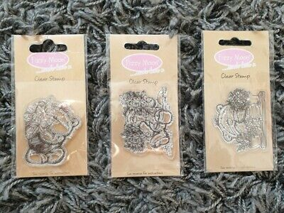 Set Of 3 Fizzy Moon Clear Stamp Flower Teddy Bear Plant Pot Three Stamps Set  • 4.99£