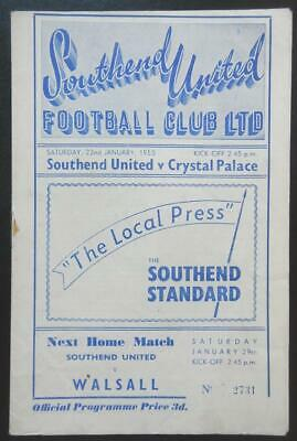 SOUTHEND UNITED V CRYSTAL PALACE - 1954/55 - Division 3 South • 5.99£