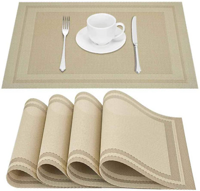 AU16.13 • Buy Placemats Set Of 4 Washable Table Accent PVC Woven Vinyl Mats Dining Tableware
