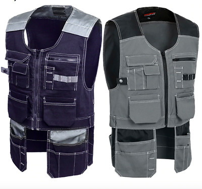 Electrician Tool Vest Workwear For Men Multi Pocket Quick Dry Windproof Safety • 40£