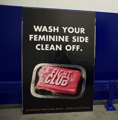 "FIGHT CLUB (1999) • Original Movie Poster ""WASH YOUR FEMININE SIDE CLEAN OFF."" • 140£"
