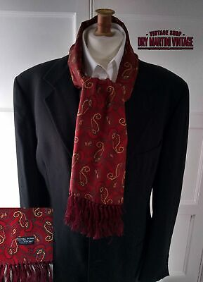 VINTAGE 1960s TOOTAL FRINGED SCARF RED WINE PAISLEY MOD DAPPER SCOOTER EXCELLENT • 64.99£