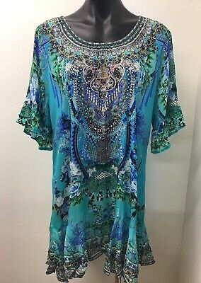 AU90 • Buy Stunning Czarina Viscose Silk Embellished Kaftan Mini Dress, Size S. 30315