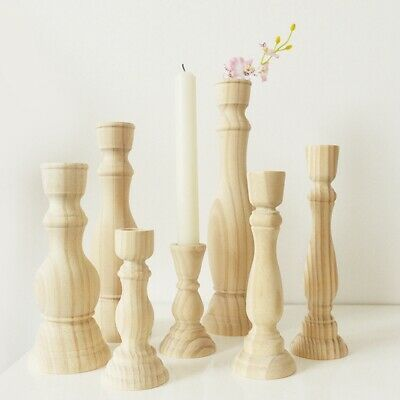 £6.39 • Buy 2 Size Vintage Wooden Table Candle Holder Candlestick Wedding Home Decoration