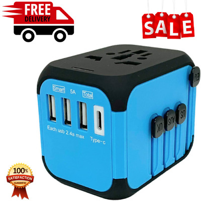 AU29.39 • Buy JOLLYFIT Universal Travel Adapter 5A Smart Charger Blue Type-C And 3 USB Port