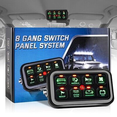 AU159.99 • Buy 8 Gang LED Touch Screen Switch Control Panel Green Electronic Universal Auxbeam