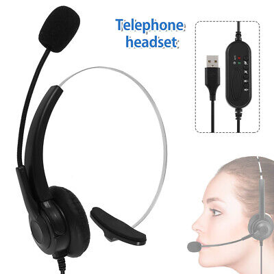 USB Computer Headset Wired Over Ear Headphones For Call Center PC Laptop Skype • 11.89£